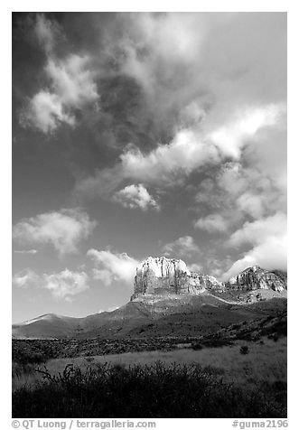 El Capitan and clouds. Guadalupe Mountains National Park (black and white)