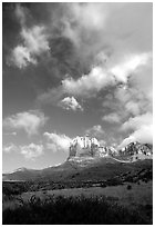 El Capitan and clouds. Guadalupe Mountains National Park, Texas, USA. (black and white)