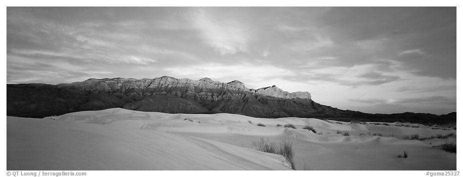 Desert and mountain scenery with gypsum dunes at sunset. Guadalupe Mountains National Park (black and white)