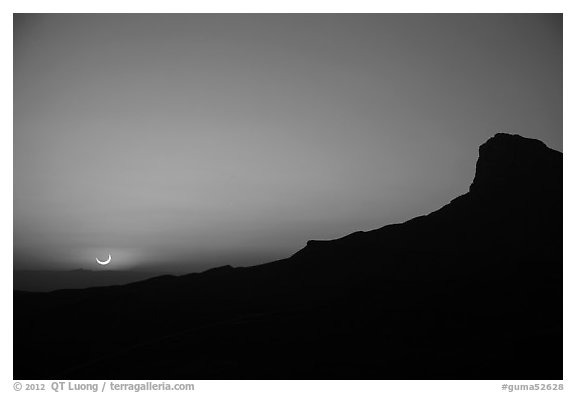 El Capitan, May 20 2012 solar eclipse. Guadalupe Mountains National Park (black and white)