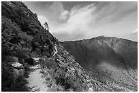 Guadalupe Peak Trail. Guadalupe Mountains National Park ( black and white)