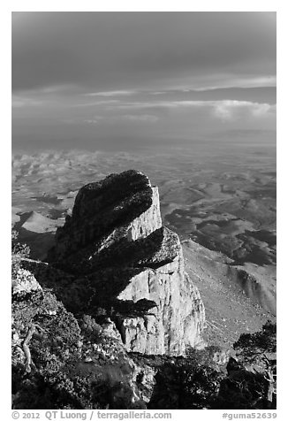 El Capitan backside seen from Guadalupe Peak. Guadalupe Mountains National Park (black and white)
