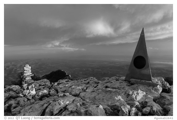 Cairn and monument on summit of Guadalupe Peak. Guadalupe Mountains National Park (black and white)