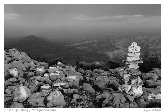 Cairn and shadow of mountain, Guadalupe Peak. Guadalupe Mountains National Park (black and white)