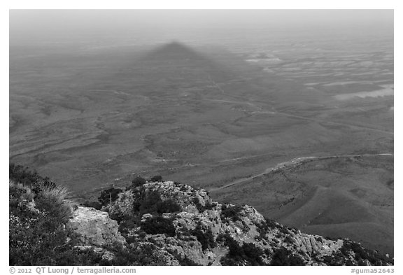Shadow of Guadalupe Peak at sunset. Guadalupe Mountains National Park (black and white)