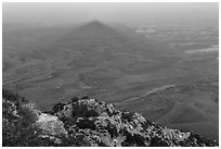 Shadow of Guadalupe Peak at sunset. Guadalupe Mountains National Park ( black and white)