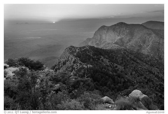 Bush Mountain and sunset, viewed from Guadalupe Peak. Guadalupe Mountains National Park (black and white)