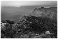 Bush Mountain and sunset, viewed from Guadalupe Peak. Guadalupe Mountains National Park ( black and white)