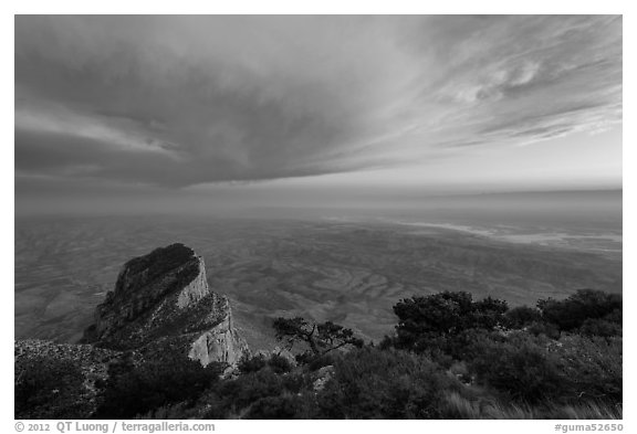 Guadalupe Peak summit and El Capitan backside with sunset cloud. Guadalupe Mountains National Park (black and white)