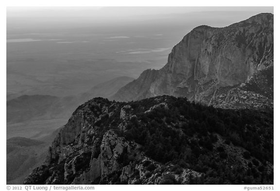 Western ridges of Guadalupe Mountains. Guadalupe Mountains National Park (black and white)