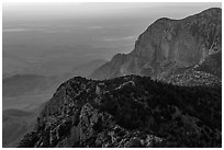 Western ridges of Guadalupe Mountains. Guadalupe Mountains National Park ( black and white)