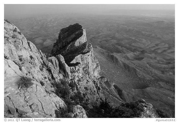 El Capitan from Guadalupe Peak at dusk. Guadalupe Mountains National Park (black and white)