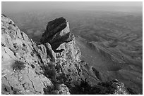 El Capitan from Guadalupe Peak at dusk. Guadalupe Mountains National Park ( black and white)
