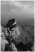 El Capitan backside at dusk. Guadalupe Mountains National Park ( black and white)