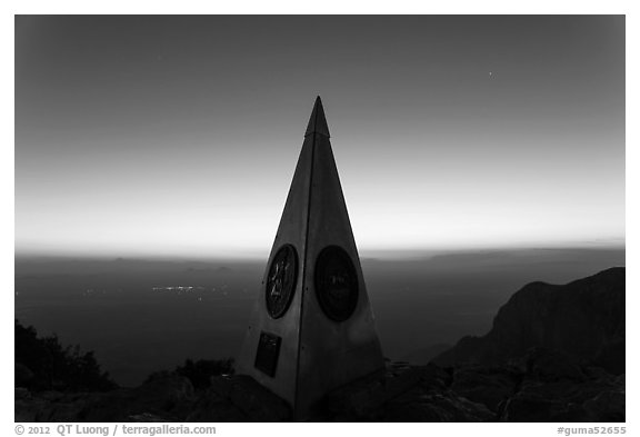 Summit monument at dusk. Guadalupe Mountains National Park (black and white)