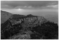 Cloudy sunrise from flanks of Guadalupe Peak. Guadalupe Mountains National Park ( black and white)