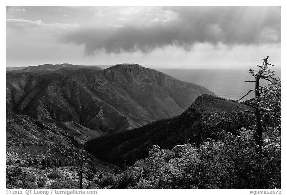 Mountain view with Hunter Peak and Pine Spring Canyon. Guadalupe Mountains National Park (black and white)