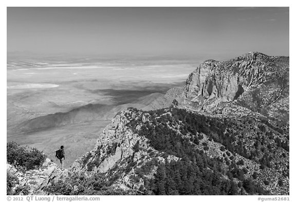 Park visitor looking, Guadalupe Peak. Guadalupe Mountains National Park (black and white)