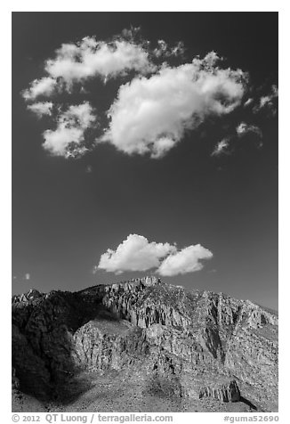 Clouds above Hunter Peak. Guadalupe Mountains National Park (black and white)
