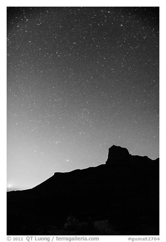 Starry sky and El Capitan. Guadalupe Mountains National Park (black and white)