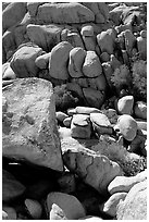 Jumble of rocks in Hidden Valley. Joshua Tree National Park, California, USA. (black and white)