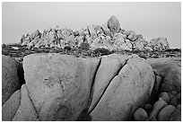 Boulders at dusk, Jumbo Rocks. Joshua Tree National Park, California, USA. (black and white)