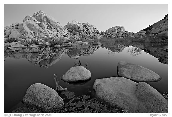 Boulders reflected in water, Barker Dam, dawn. Joshua Tree National Park (black and white)