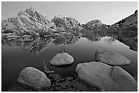 Boulders reflected in water, Barker Dam, dawn. Joshua Tree National Park, California, USA. (black and white)