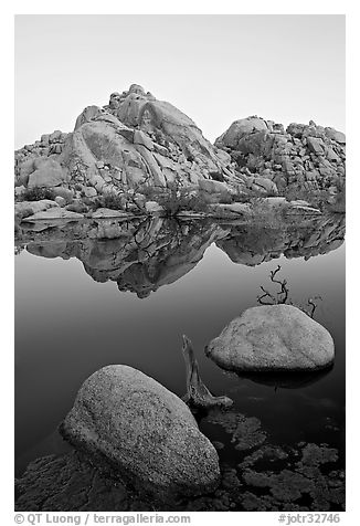 Rockpiles and reflections, Barker Dam, dawn. Joshua Tree National Park, California, USA.