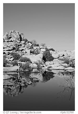 Photographer at Barker Dam. Joshua Tree National Park (black and white)