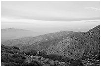 Keys View, sunrise. Joshua Tree National Park ( black and white)