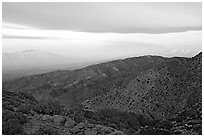 Mt San Jacinto and Signal Mountain from Keys View, sunrise. Joshua Tree National Park, California, USA. (black and white)