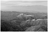 Little Sand Bernardino Mountains from Keys View, early morning. Joshua Tree National Park ( black and white)