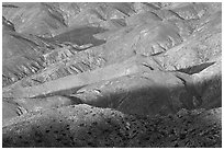 Eroded hills below Keys View, early morning. Joshua Tree National Park, California, USA. (black and white)