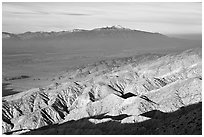 Valley and hills from Keys View, early morning. Joshua Tree National Park, California, USA. (black and white)