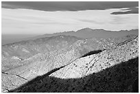 Ridges from Keys View, early morning. Joshua Tree National Park, California, USA. (black and white)