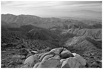 Keys View and Coachella Valley, morning. Joshua Tree National Park, California, USA. (black and white)