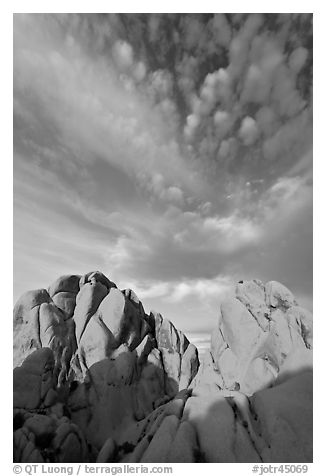 Rocks and clouds. Joshua Tree National Park (black and white)