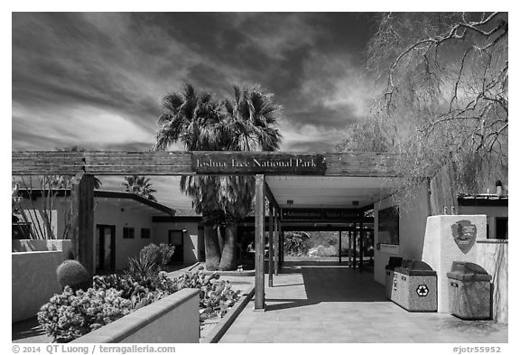 Oasis Visitor Center. Joshua Tree National Park (black and white)
