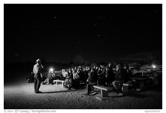Ranger speaking during nightime program. Joshua Tree National Park (black and white)
