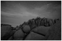 Geometrically shaped rocks and night sky. Joshua Tree National Park ( black and white)