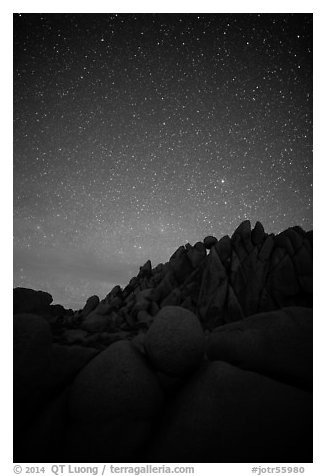Marble rocks under clear starry sky. Joshua Tree National Park (black and white)