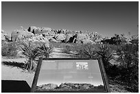 Interpretive sign, monzogranite formation. Joshua Tree National Park ( black and white)