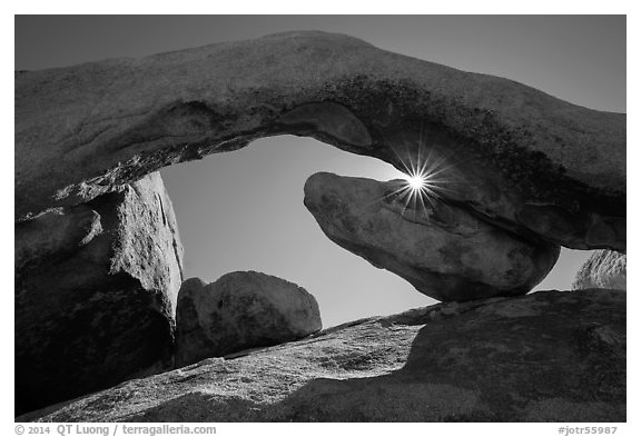 Sunburst and Arch Rock. Joshua Tree National Park (black and white)