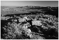 Pleasant Valley from Ryan Mountain. Joshua Tree National Park ( black and white)