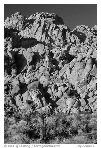 Wall of boulders, Indian Cove. Joshua Tree National Park (black and white)