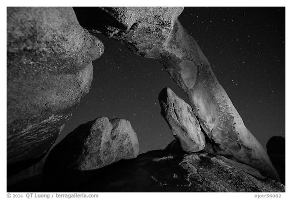 Arch Rock and starry sky. Joshua Tree National Park (black and white)