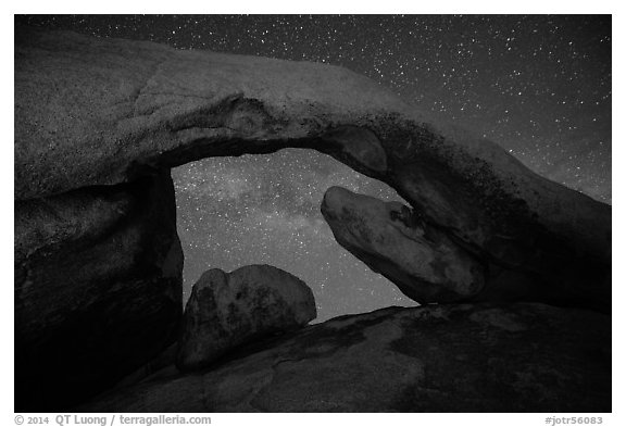 Arch Rock and night sky with Milky Way. Joshua Tree National Park (black and white)