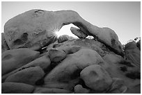 Boulders, Arch Rock, and sun. Joshua Tree National Park ( black and white)
