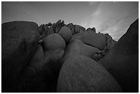 Granite boulders at night. Joshua Tree National Park ( black and white)